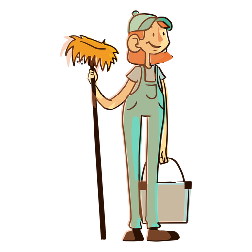 Cleaning worker mop bucket illustration Transparent PNG