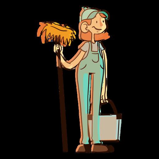 Cleaning worker mop bucket illustration
