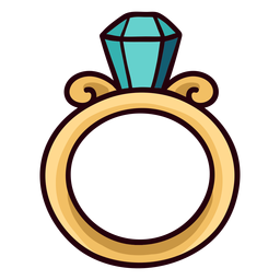 Anillo de diamante colorido trazo de icono