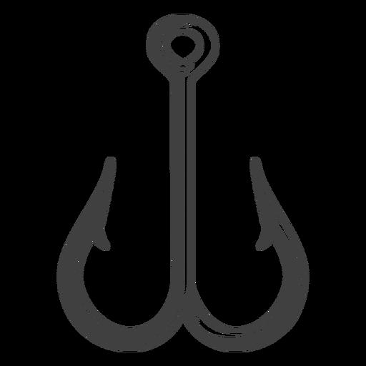 Ilustración de doble anzuelo de pesca
