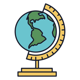 Earth globe colorful icon stroke