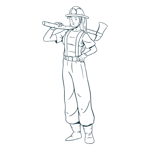 Female firefighter axe handdrawn Transparent PNG
