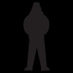 Female first responder fireman flat silhouette