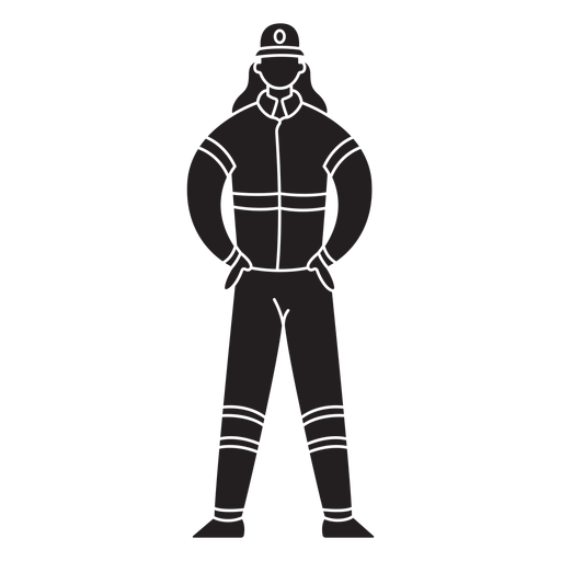 Female first responder fireman flat silhouette Transparent PNG
