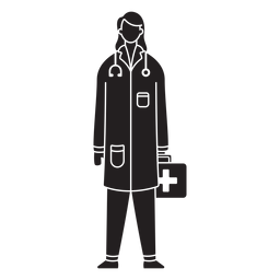 Female first responder medic flat silhouette