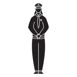 Female first responder police flat silhouette