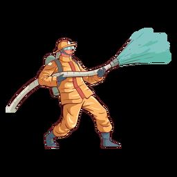 Ilustração colorida de ação de bombeiro