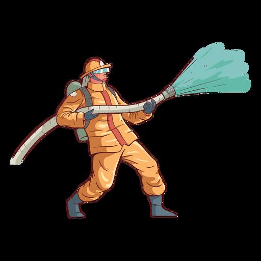 Firefighter action colorful illustration Transparent PNG