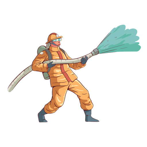 Firefighter action colorful illustration