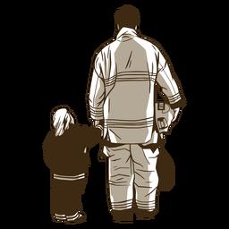 Ilustración de bombero y niño