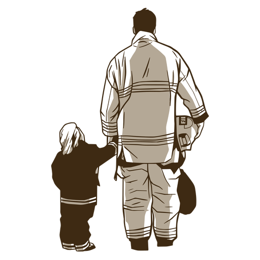 Firefighter and boy illustration