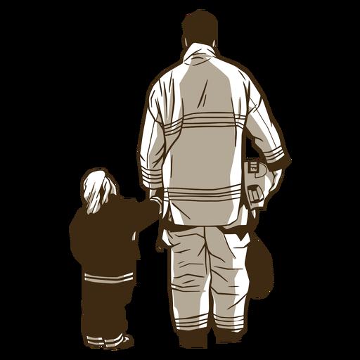 Ilustração de bombeiro e menino