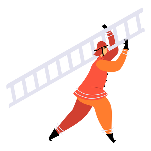 Firefighter carrying ladder flat Transparent PNG
