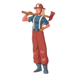 Firefighter female colorful illustration