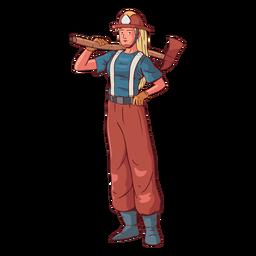Ilustración colorida mujer bombero