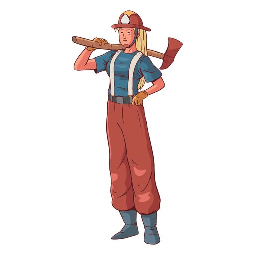 Firefighter female colorful illustration Transparent PNG