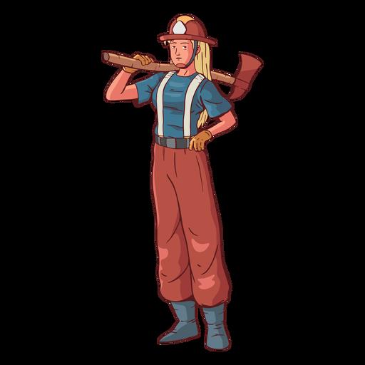 Firefighter female colorful illustration