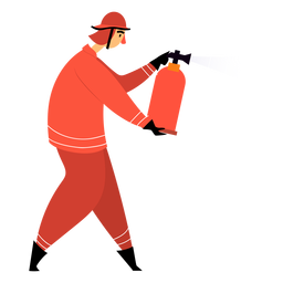 Bombero extintor de incendios plano