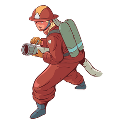 Firefighter hose colorful illustration