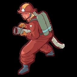 Ilustración colorida de la manguera de bombero