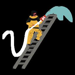 Bombero manguera escalera agua plana