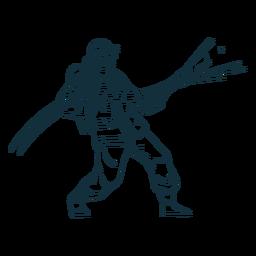 Bombero en acción dibujado a mano