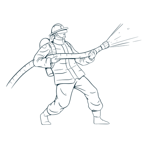 Firefighter in action handdrawn Transparent PNG
