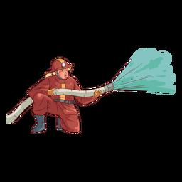 Bombero arrodillado colorida ilustración