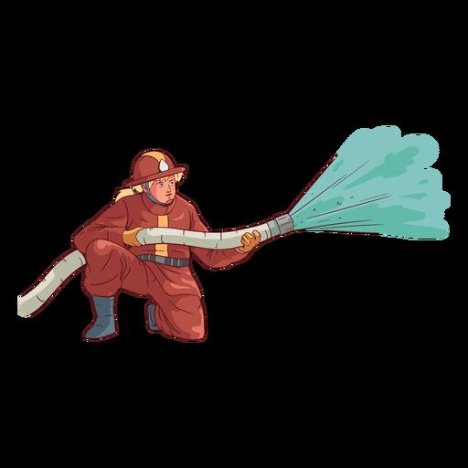 Firefighter kneeling colorful illustration Transparent PNG