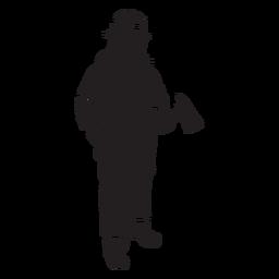Fireman axe mask flat silhouette