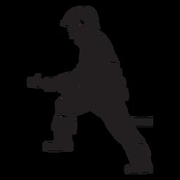 Silhueta plana de bombeiro capacete mangueira