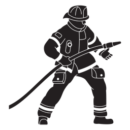 Silhueta plana de bombeiro mangueira capacete