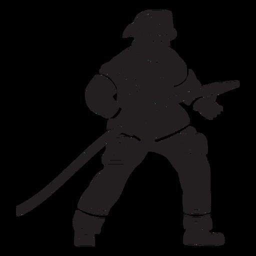 Fireman hose helmet flat silhouette Transparent PNG