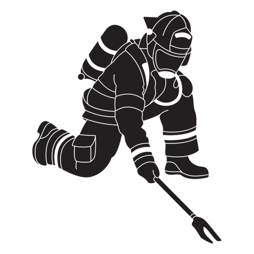 Fireman two pronged tool flat silhouette Transparent PNG