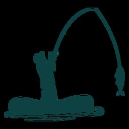 Silhueta de peixe de vara de barco pescador
