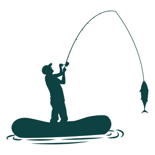 Fisherman Boat Rod Fish Silhouette Transparent Png Svg Vector File