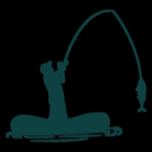 Pescador barco caña de pescar silueta