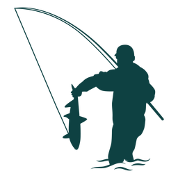 Fisherman catch fish rod silhouette