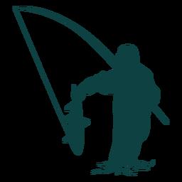 Pescador captura silueta de caña de pescado