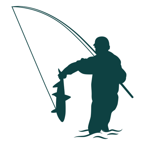 Fisherman catch fish rod silhouette Transparent PNG