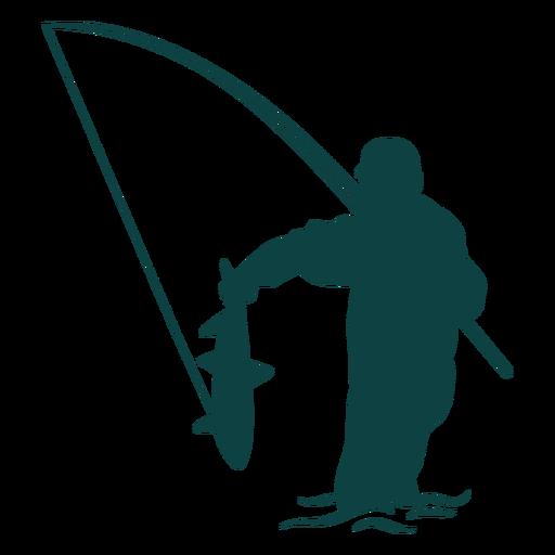 Fisherman catch fish rod silhouette