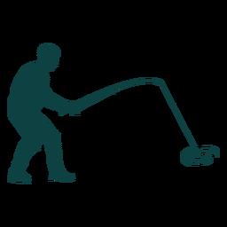 Silhueta de pescador pegando peixe