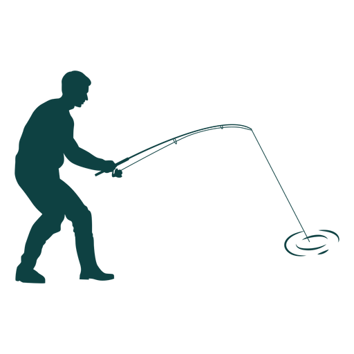 Fisherman catching fish silhouette Transparent PNG