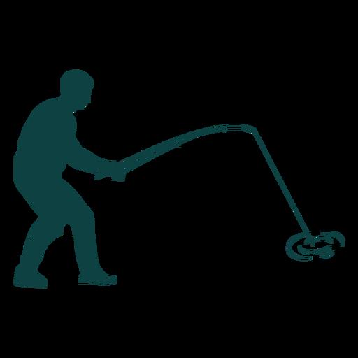 Pescador capturando peces silueta