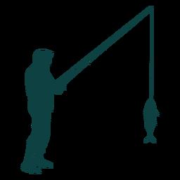 Pescador caña pescado captura silueta