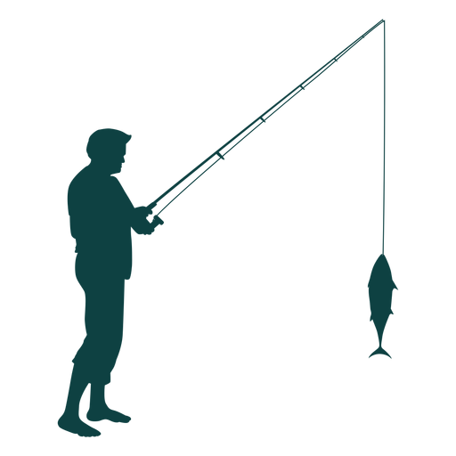 Fisherman rod fish catch silhouette Transparent PNG