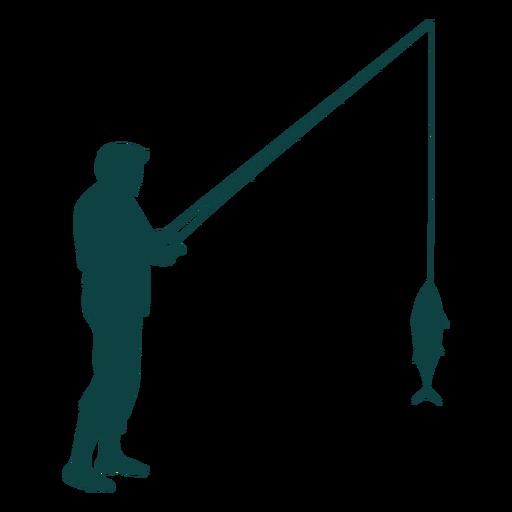 Pescador caña pescado captura silueta Transparent PNG