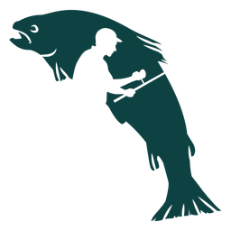 Ilustración de pescador caña pescado