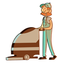 Floor cleaning machine worker illustration