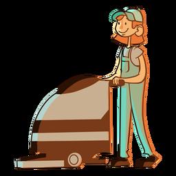 Ilustración de trabajador de máquina de limpieza de piso